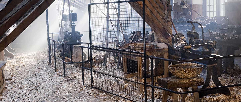 Interior of the new lathe shop at Stott Park Bobbin Mill