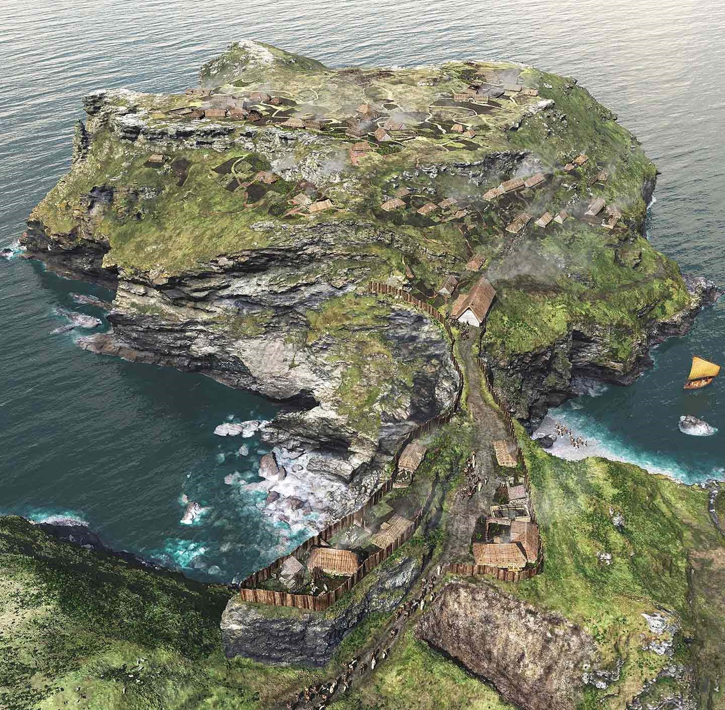 A reconstruction of Tintagel as it may have looked in about 700, showing the island dotted with simple houses