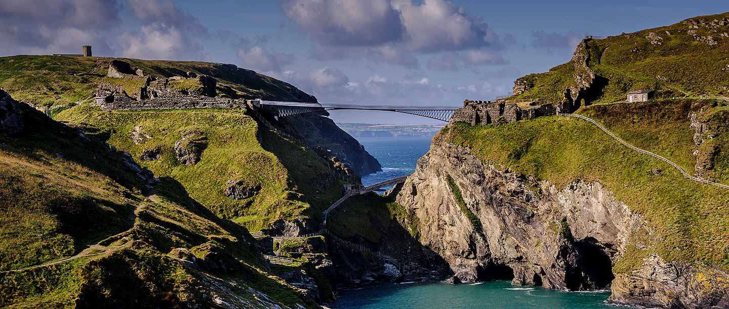 Tintagel Castle, showing the bridge built in 2019 to link the mainland and the island