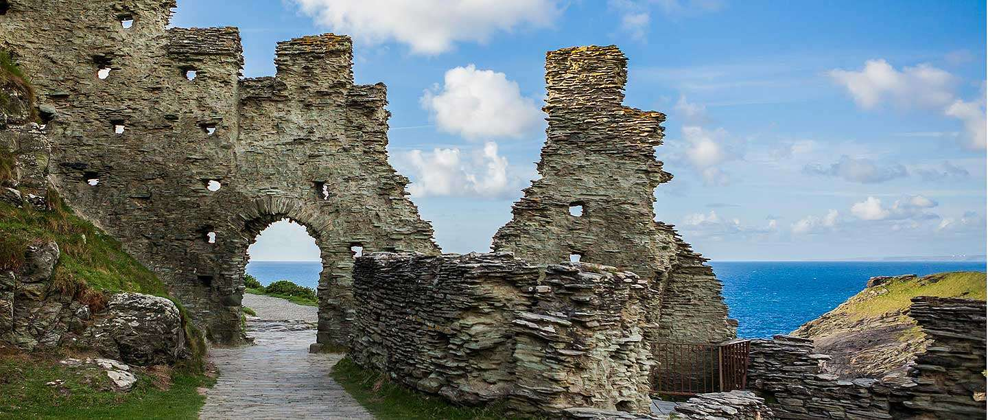 The courtyard wall and gate on Tintagel Island
