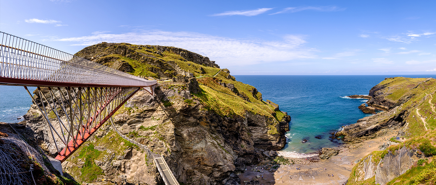 The new Tintagel Bridge leading to the island