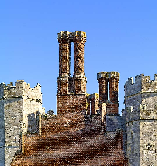 The elaborate Tudor chimneys at the west end of the gatehouse at Titchfield