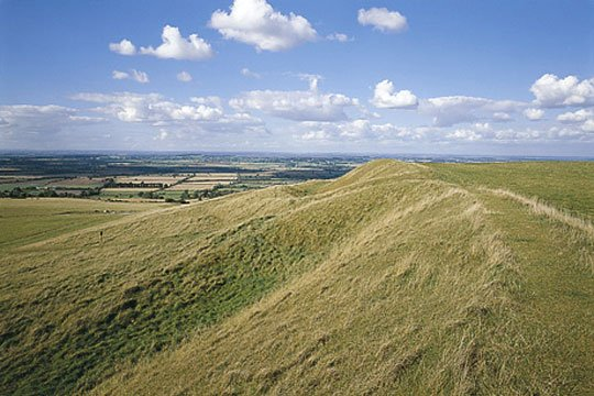 The western ramparts of Uffington Castle on Whitehorse Hill