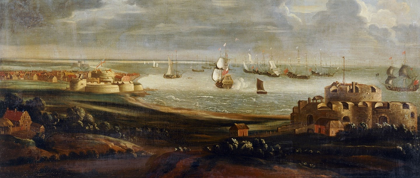 Oil painting of Walmer Castle and Deal Castle