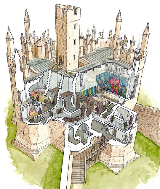 Cutaway reconstruction illustration of the great tower at Warkworth Castle and Hermitage as it may have appeared in c1480