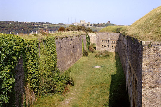 The Drop Redoubt of the Western Heights, with Dover Castle in the distance