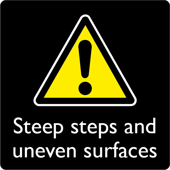 Hazard, steep steps and uneven surfaces