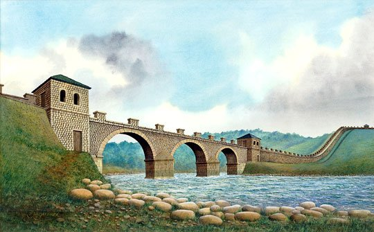 Reconstruction illustration of the first bridge at Willowford