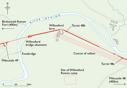 Map of Willowford Wall, turrets and bridge abutment