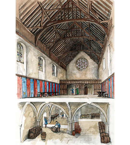 The interior of the great hall as it may have appeared in the 15th century