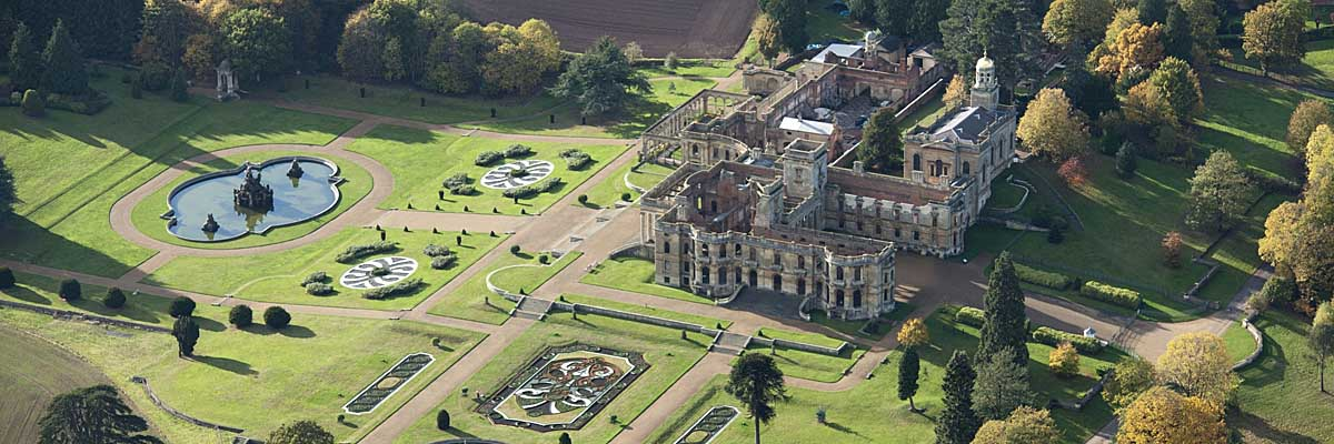 Witley court and gardens seen from the air