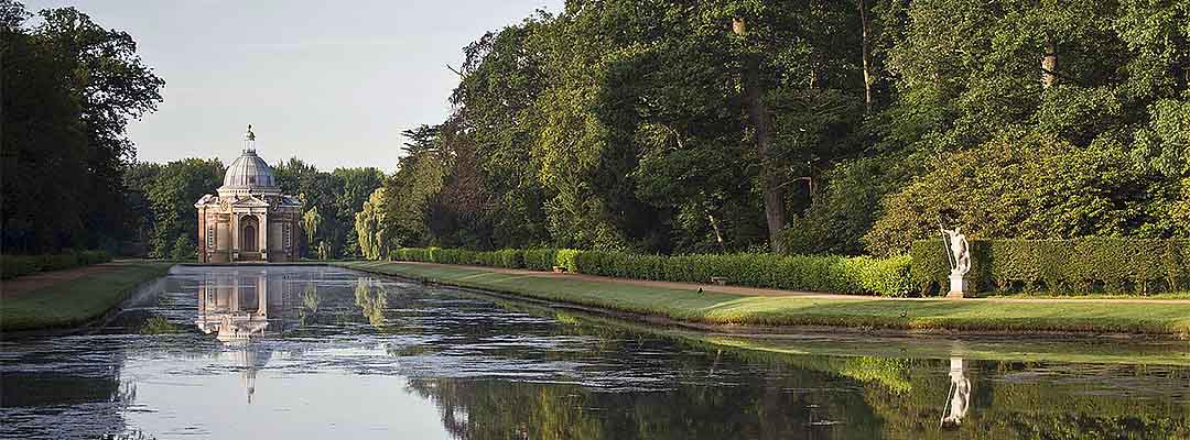 The Long Water, created in the early 1680s, is still the main axis of the gardens at Wrest Park