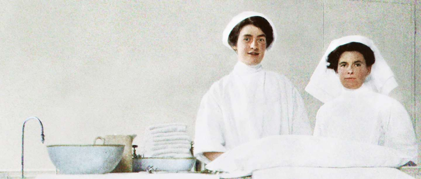 Two nurses in the operating theatre at Wrest Park