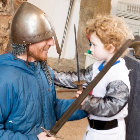 A father and son dressed up as Knights at the Bolsover Knight School