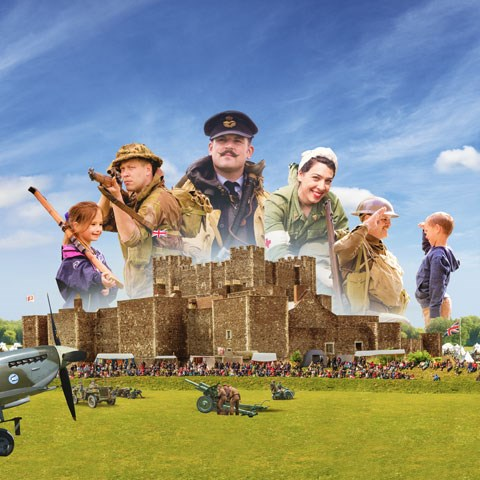 WWII characters and vehicles in front of Dover Castle